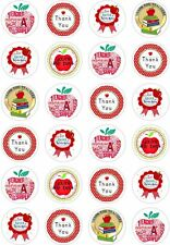 24 Thank You Teacher Cupcake Fairy Cake Toppers Gift Edible Rice Wafer Paper