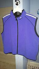 Adidas Fleece Reversible Vest Jacket Full Zip Blue Black XL Vintage