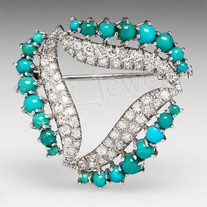 1.34ctw Rund Diamant Türkis 14K Weiss Gold Hochzeitstag Brosche