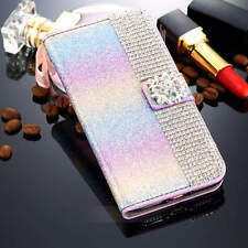 rainbow Leather Bling Diamond Glitter Wallet Case Cover For iPhone 6 6S 7 7 Plus