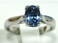 VS Blue Sapphire Ring 14K White Gold Solitaire Ceylon Natural Heirloom $3,769