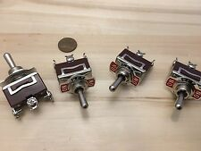 4 Pieces RED 3 PIN momentary Toggle switch (ON)OFF(ON)12v 125v spring return B5