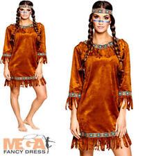 Native American señoras Vestido de Fantasía Salvaje Oeste Indio Rojo para Mujeres Disfraz Adultos