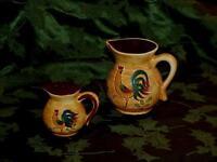 "Vintage Pennsbury Pottery Rooster Caramel Brown Pitcher Creamer 4"" & Salt shaker"