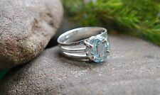 BLUE TOPAZ NATURAL 925 STERLING SILVER RING SIZE 6 1/2 WITH GIFT BAG