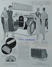 PUBLICITE NOTES D'ELEGANCE HOTCHKISS SALON AUTO LOUIS VUITTON HERMES DE 1930 AD