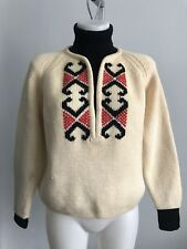 VTG Norwegian Nordic Ski Sweater Cream Blk Turtleneck Wool 50's 60's Sz40 M Cool