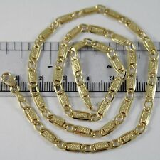 18K YELLOW GOLD CHAIN FLAT GOURMETTE BUBBLES OVAL 4 MM MESH 17.70 MADE IN ITALY