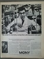 1966 MONY Mutual life insurance of NY Stamford CT research lab chemist ad