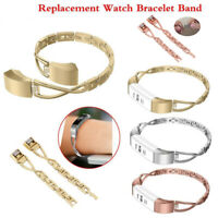 Metal Replacement Watch Bracelet Band X Shape Strap for Fitbit Alta HR Sliver