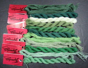 11x Needlepoint/Embroidery THREAD CARON Impressions 1ply silk/wool-greens-NH15