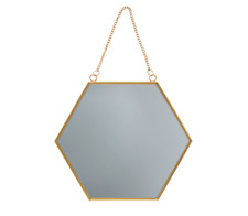 Sass & Belle Gold Colour Hexagon Mirror Chain Link Wall Hanging Metal Frame