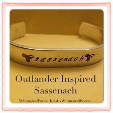 Handmade Outlander Inspired Sassenach Hand Stamped Cuff Hypoallergenic Gift