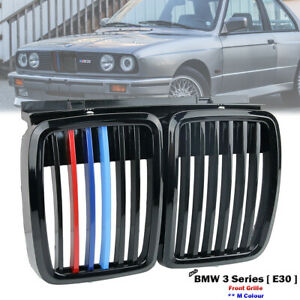 Glossy Black M Colour Front Kidney Grill Grille For BMW E30 320 323 325 1982-94