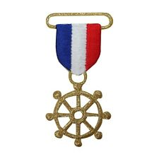 ID 2655 Nautical Wheel Medal Patch Ship Sail Ribbon Embroidered Iron On Applique