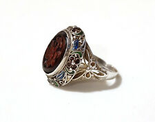 Antique Carved Red Cinnabar Ring Enamel Flower Signed SILVER Sz 6 Chinese Asian