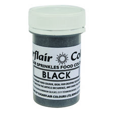 BLACK - Sugarflair Edible Sugar Sprinkles Food Colour Colouring Cake Decorating
