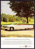 "1965 white Cadillac DeVille Convertible photo ""Archery Theme"" vintage print ad"