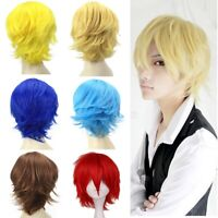 Women Men Unisex Short Straight Hair Wig Anime Full Wigs Party Cosplay Costume