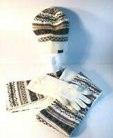 Muk Luks Women's Reversible Ivory & Brown Eternity Scarf Hat & Glove Set OSFA