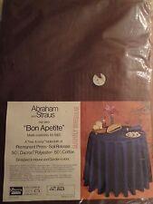 "NEW Vintage Abraham & Straus 70 "" Round Tablecloth Brown"