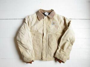 Carhartt Beige Arctic Lined Traditional Duck Jacket Coat Workwear | Size XL