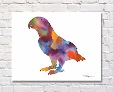 African Grey Abstract Watercolor Painting Art Print by Artist DJ Rogers