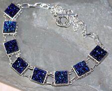 Silver Elegant Royal Blue Rainbow Titanium Druzy Square Necklace WN10508