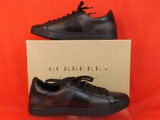 Burberry London Ritson Black Leather Check Coated Canvas SNEAKERS 41 US 8