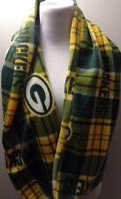 Green Bay Packers Infinity Scarf Thick green plaid Winter Fleece Soft Warm NEW