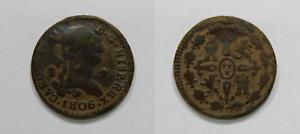 CARLOS IV  Moneda 4 Maravedis 1806, Ceca Segovia, España Colonial. Bonita Patina