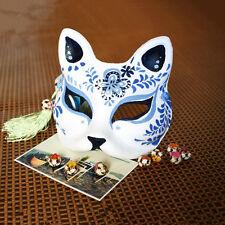 Blue Babymetal Kitsune Hand-painted Fox Half Face Halloween Costume Ball Mask