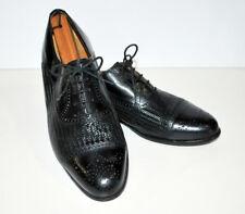 Magnanni Mans Black Woven Cap toe 10.5 Medium Lace Up Oxford Italian Made Shoe