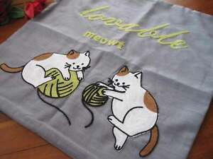 Cute Two Brown White Cat Play Yarn Thread Embroidery Grey Cushion Cover B
