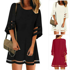 Womens 3/4 Bell Sleeve Crewneck Mesh Panel Flare Swing Dress Casual Loose Tunic