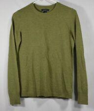 LANDS' END 100% Cashmere Sage Green Crewneck Sweater Size S 6-8 Long Sleeve EUC