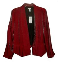 New Blazer Chico's Drape-Front Metallic Jacket Sultry-Red MSRP-$109.00  M