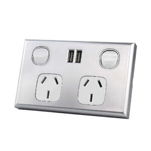 Dual USB Australian GPO Power Point Wall Plate - Silver and White