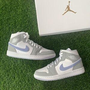 Women's Nike Air Jordan 1 Mid Aluminum Wolf Grey BQ6472-105 Size 5.5W / 4M
