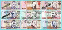 URUGUAY UNC 9 PCS SET 1000 to 500,000 NUEVOS PESOS 1989 - 1992 P.67a to 73a