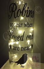 ROBINS APPEAR WHEN LOVED ONES ARE NEAR MEMORIAL WINE BOTTLE VINYL DECAL STICKER