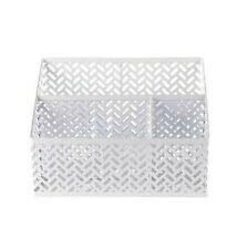 3 Compartment Metal Desk Organizer, White Zigzag new