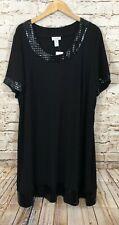 Fashion Bug black shift dress womens 3X New geometric trim shine short slv J8