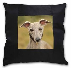 A Gorgeous Whippet Dog Black Border Satin Feel Cushion Cover With P, AD-WH92-CSB