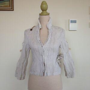 Bellocoton Linen Muslin Cream Shirt Blouse Top Size 1