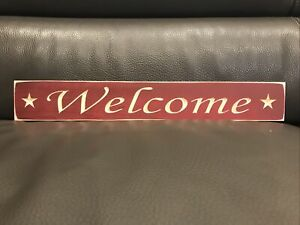 """Rustic Primitive Country Engraved Wood sign """"Welcome"""" Burgundy"""
