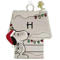 HALLMARK Letter H Peanuts Snoopy Woodstock Charm Metal Christmas Ornament New