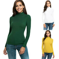 Ladies Womens Long Sleeve Solid Casual Slim Fit Turtleneck Tee Shirt Top Blouse