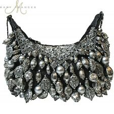 Mary Frances Handbag Silverado Bead Bangle Sequin Silver Cross Body Shoulder Bag