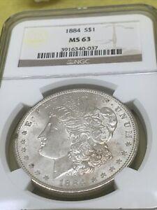 1884 MORGAN S$1 NGC MS 63